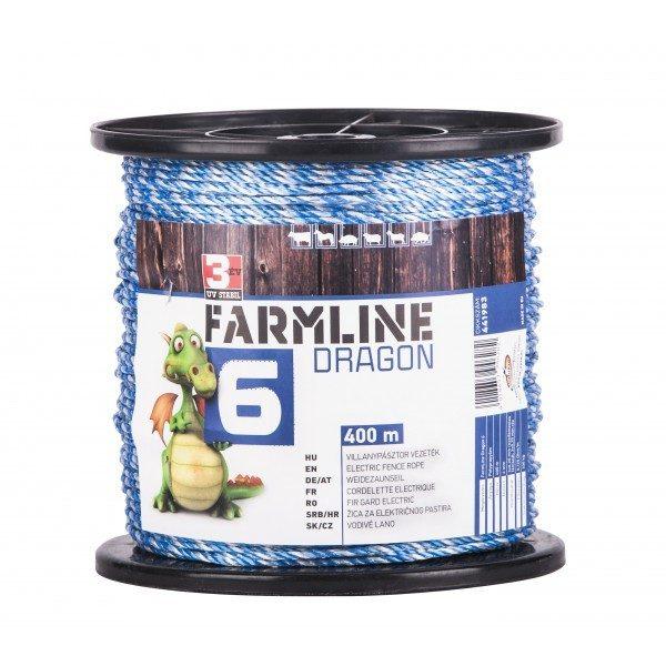 FarmLine Dragon 6 villanypásztor vezeték, 400m, 4mm, kék